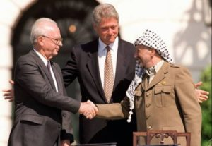 Yitzhak Rabin, President Clinton and Yasser Arafat during the signing of the Oslo I Accord